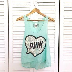 Victoria's Secret PINK Teal Sequin Crop Tank Top
